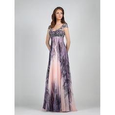 Φόρεμα βραδυνό εμπριμέ με κεντημένο μπούστο