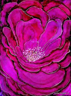 MY PEONY  PAINTING IN ALCOHOL INK & GELLY ROLL PEN ON YUPO PAPER The Peony's in the garden were lush and profuse this year...until the rain and wind beat them up.