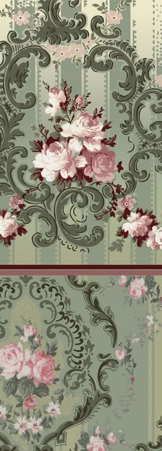 Rococo Rose - Historic Wallpapers - Victorian Arts the huge pink flowers with the stripes and scrolls waffer paper inspiration Victorian Furniture, Victorian Decor, Victorian Homes, Victorian Wallpaper, Old Wallpaper, Molduras Vintage, Rose Design, Ceiling Design, Vintage Walls