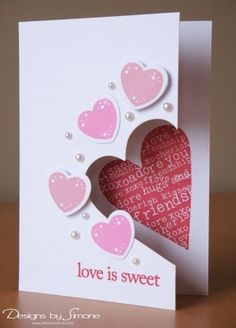 Pin by anna cash on cards pinterest cards valentines and 2016 handmade valentines day card with cut out hearts decor and pearl valentines day love is sweet letters decor mightylinksfo