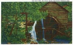 Gatlinburg, Tennessee - View of an Old Grist Mill; Great Smoky Mts. Nat'l Park