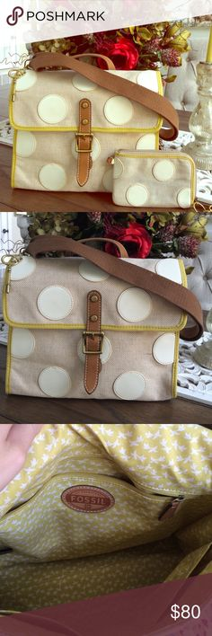 Fossil polka dot bag and wristlet Authentic Fossil polka dot purse never used . 13 inches length and 9inches height . The wristlet HAS been used gently and is discounted. Price is firm on this one! Coming from a non smoking home, kept in dust bag Fossil Bags