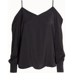 H&M Off-the-shoulder blouse ($38) ❤ liked on Polyvore featuring tops, blouses, shirts, black, v neck shirts, long shirts, off shoulder blouse, long black shirt and black v neck shirt