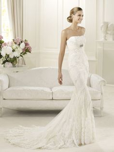Strapless Lace Appliques Mermaid Wedding Dress with Soft Draping Bodice