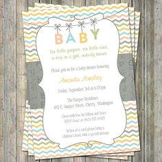 Alphabet BABY shower invite, Gender Neutral digital, printable file (any colors) on Etsy, $13.00