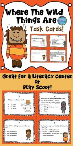 This comprehension task card activity is a great literacy center to use after the children have read where the wild things are by maurice sendak. Reading Response Notebook, Reading Task Cards, Thing 1, Teaching First Grade, Kindergarten Activities, Library Activities, Teaching Resources, Homeschooling Resources, Teaching Kids