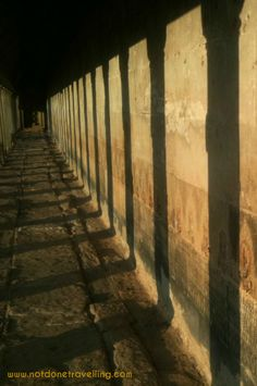 The outer corridor of Angkor Wat at sunset Cambodia Travel, Angkor Wat, Corridor, Sunset, Lds, World, Beautiful, Cambodia, Travel