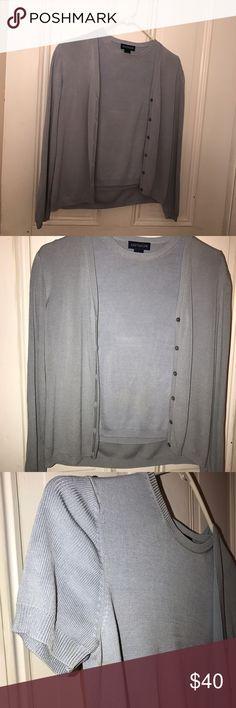 Steel Gray Silk Sweater Set Steel Gray Sweater Set Short Sleeve Top Under Long Sleeve Botton Down Sweater. Botton down is medium, under shirt is small. Ann Taylor Tops