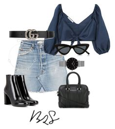 """""""#858"""" by blendingtwostyles ❤ liked on Polyvore featuring RE/DONE, Givenchy, Yves Saint Laurent, Topshop, Sole Society, MANGO, Gucci and Le Specs"""
