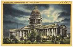 File name: 06_10_020690 Title: Utah State Capitol at night, Salt Lake City, Utah Created/Published: Tichnor Quality Views, Reg. U. S. Pat. Off. Made Only by Tichnor Bros., Inc., Boston, Mass. Date issued: 1930 - 1945 (approximate) Physical description: 1 print (postcard) : linen texture, color ; 3 1/2 x 5 1/2 in. Genre: Postcards  Subject: Capitols Notes: Title from item. Collection: The Tichnor Brothers Collection Location: Boston Public Library, Print Department Rights: No known…