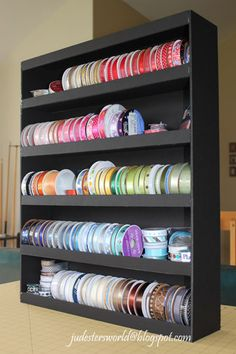 Angie: You could do this! It's made of Foam Core Board. Judester's World: Ribbon Shelf made from Foam Core Board Ribbon Organization, Ribbon Storage, Diy Ribbon, Craft Organization, Foam Board Crafts, Ribbon Holders, Craft Room Storage, Craft Rooms, Storage Ideas