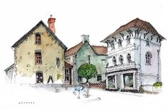 Chris Lee - great architecture travel sketching   pen & ink