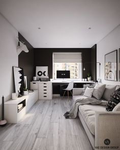small house decor ideas, living room decor ideas, small home design, color palettes, decor in black and white Home Room Design, Home Office Design, Home Office Decor, Home Decor, Small Room Bedroom, Bedroom Decor, Small Bedroom Designs, Living Room Decor Cozy, Guest Room Office