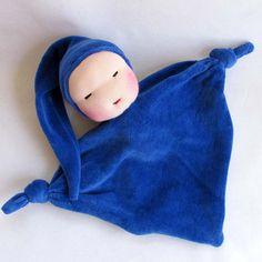 blueberry baby Waldorf blanket doll soft doll by germandolls