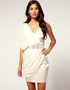 Image 1 ofLipsy Drape Chiffon Grecian Embellished Waist Dress. Product Code: ZTRDR1582253