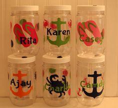 Personalized Plastic Mason Jar Cups 16oz - Flip Flops - Anchor - Crab on Etsy, $5.00