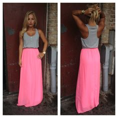 Neon Pink Jersey Maxi Dress. Want one for FL Laura: I like it but I would put a neon color Cardigan over the gray tank tip