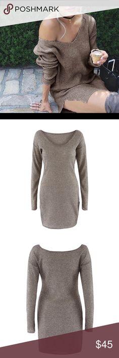 🌹🆕 GREY THERMAL SHIRT DRESS WITH SIDE SPLITS 🌹 🌹🆕 Grey long sleeve thermal sweater dress with side splits Dresses Mini