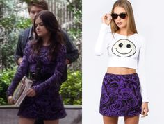 Aria Montgomery (Lucy Hale) in Pretty Little liars wears a purple and black rose print skirt and top by Motel Rocks as a dress in Crash and Burn Girl