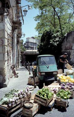 Street market in Catania , Italy