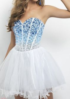 White, blue, short, prom dress.