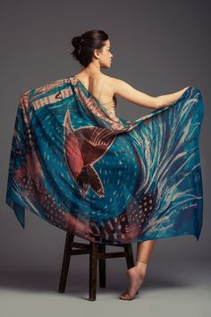 reserved item for yang! Blue Feather Shawl , Bird Chiffon Multicolour Large Shawl , Colorful Shawl , Blue Pareo  , Free Shipping