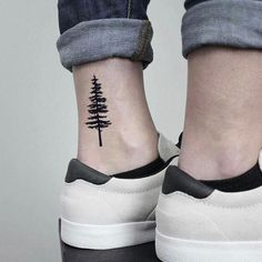 tree tattoo Pine Tree Temporary Fake Tattoo Sticker (Set of Pine Tattoo, Fake Tattoos, New Tattoos, Small Tree Tattoos, Small Nature Tattoo, Simple Tree Tattoo, Palm Tree Tattoo Ankle, Small Tattoos For Guys, Pretty Tattoos