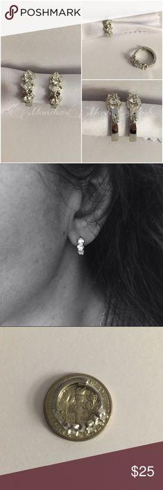 Selling this Sterling White Topaz Flower Elegant Hoop Earrings on Poshmark! My username is: monikasmoshposh. #shopmycloset #poshmark #fashion #shopping #style #forsale #Jewelry