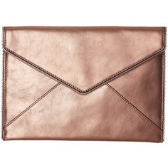 Rebecca Minkoff Metallic Leo Clutch (Rose Gold) ($95) ❤ liked on Polyvore featuring bags, handbags, clutches, accessories, rebecca minkoff purse, metallic purse, metallic clutches, rose gold handbag and rebecca minkoff handbags