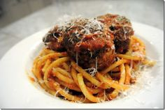 Bucatini with Turkey Meatballs