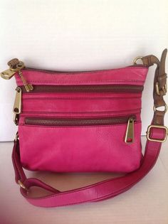 Fossil Authentic Messenger Crossbody Sling Bag Purse  Hot Pink Hip Chic Women #Fossil #MessengerCrossBody