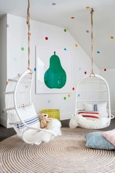 Chairs for A Girls Bedroom. Chairs for A Girls Bedroom. Rattan Hanging Chair for Reading Corner Girls Bedroom Playroom Design, Playroom Decor, Kids Room Design, Kids Decor, Decor Room, Home Decor, Playroom Ideas, Attic Playroom, Colorful Playroom