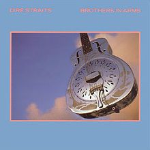 """Dire Staits """"Brothers in Amrms."""" The guitar featured on the front of the album cover is Mark Knopfler's 1937 National Style 0 Resonator. The Style 0 line of guitars was introduced in 1930 and discontinued in 1941"""