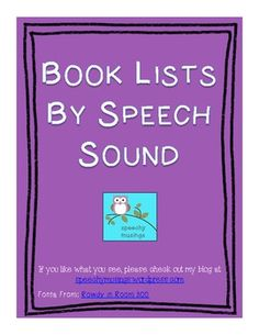 Book Lists By Speech Sound- this is awesome!