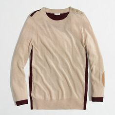 JCrew Factory colorblock elbow-patch sweater - This looks fab with the JCrew cabernet minnie bi-stretch wool pants.