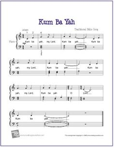 Kum Ba Yah (Bible Song) | Free Sheet Music for Easy Piano - http://makingmusicfun.net/htm/f_printit_free_printable_sheet_music/kum-ba-ya-piano-solo.htm