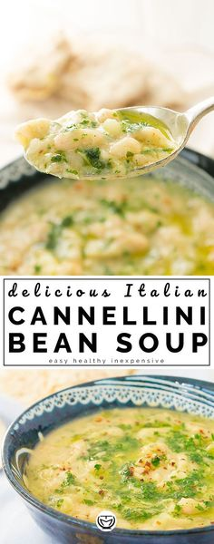 Italian flavorsome cannellini soup - This is a spectacular Italian white bean soup with big bold flavors, I cook it the way my mum used - Healthy Dinner Recipes, Vegetarian Recipes, Cooking Recipes, Vegetarian Barbecue, Barbecue Recipes, Vegetarian Cooking, Navy Beans Recipe Vegetarian, White Bean Chili Vegetarian, Vegetarian Italian