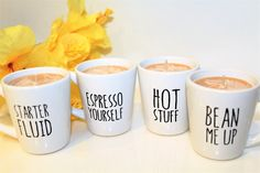 Coffee Candle In A Mug, Mini Coffee Cup, Coffee Decor, Housewarming Gifts, Spanish Gifts, Quote Candles, Coffee Lover Gifts, Handmade Candle