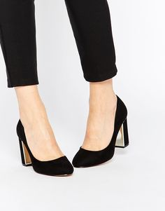 Head Over Heels By Dune Arista Black & Gold Detail Heeled Court Shoes
