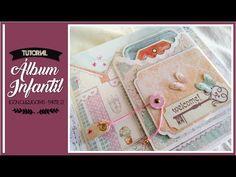 ÁLBUM INFANTIL 'MIS SECRETOS' 2 (COLABORACIÓN CON CUQUICOSAS) - TUTORIAL... Mini Scrapbook Albums, Mini Albums, Mini Album Tutorial, Baby Cards, Diy Projects To Try, Craft Videos, Nova, Christmas Crafts, Clip Art