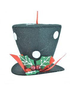 Polka Dot Snowman Hat Ornament 4˝
