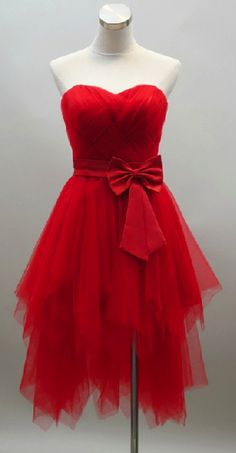 Sweetheart knee length Red prom Dress