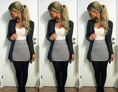 gray skirt outfits | gray skirt, black nylons,white top, black cover | outfits