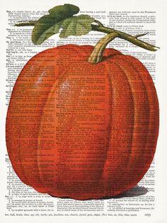 Fall Harvest  Pumpkin  Vintage Dictionary Art by OnceTattered,