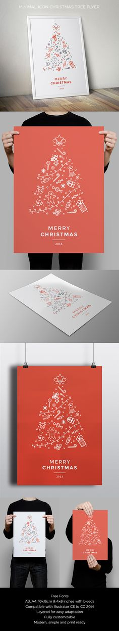 Minimal Icon Christmas Flyer. Download here: http://graphicriver.net/item/minimal-icon-christmas-flyer/13652852?ref=abradesign More