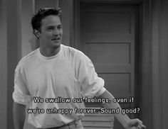 Chandler Bing! Friends. He looks perfect in this scene. <3