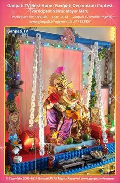 Mayur Maru Home Ganpati Picture 2014. View more pictures and videos of Ganpati Decoration at www.ganpati.tv