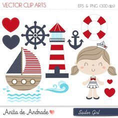 Sailor Girl Digital Clipart Vector - Personal and Commercial Use - Marine and red, Cute navy art - Kit Scrapbook, Cup Art, Nautical Party, Paper Embroidery, Vector Clipart, Fabric Painting, Watercolor Illustration, Planner Stickers, Paper Crafts