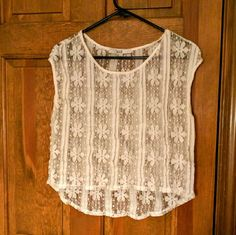 Lace blouse, super cute! White with flowers, great with colored shorts Tops Crop Tops