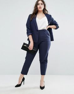 ASOS CURVE Crepe Suit in Navy